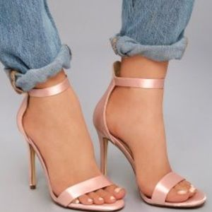 Satin Blush Colored Two-Piece Heels